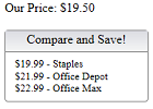 Compare Pricing Web Widget